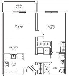 Arlington 1 bedroom floor plan