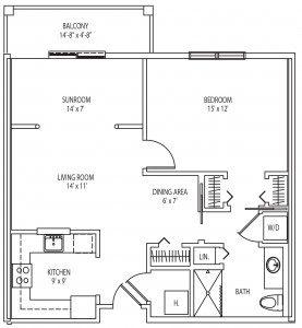 Bolton 1 bedroom floor plan