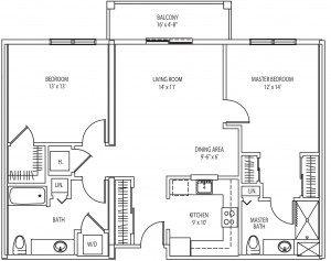 Caldwell 2 bedroom floorplan