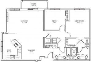 Delevan 2 bedroom floor plan