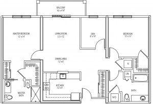 Essex 2 bedroom floor plan