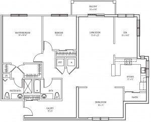 Fenimore 2 bedroom floor plan