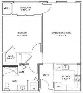 Regis 1 bedroom floor plan