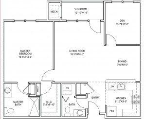 Sagamore 1 bedroom floor plan