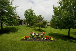 view of grounds with flowers in garden in center