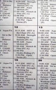 Avila Fitness Schedule