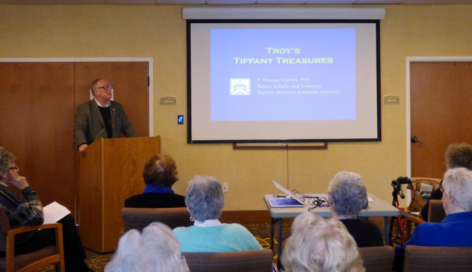 Dr Carroll presents Troy's Tiffany Windows at Avila