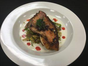 Gourmet pork chops on plate