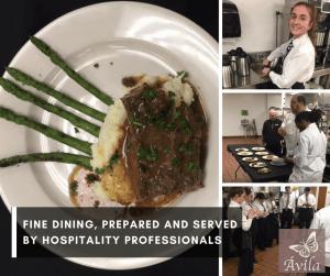gourmet food servers and staff at Ávila