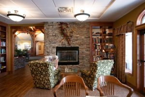 Grand Lodge library and fireplace