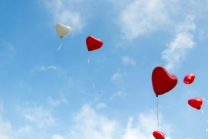 Balloon hearts floating in the sky