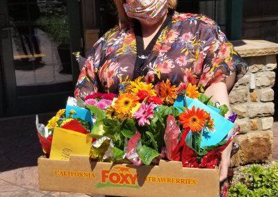 Social Worker Delivering Flowers
